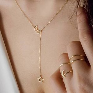 Gold Dainty Moon Star Layered Thin Necklace